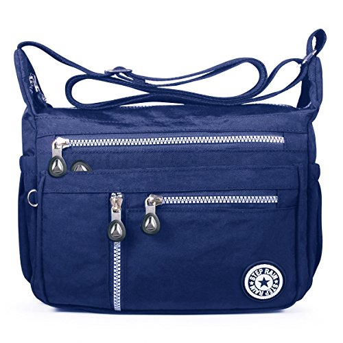 ABLE Spritzer Wasser Nylon-Tasche Kuriertasche, Crossbody Messenger Shoppertasche Umhängetasche Crossover Bag Schultertasche (4-Blau) - Business Casual Messenger Bag