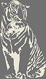 GRAZDesign 640074_40_816 Wandtattoo Tiger sitzend | Aufkleber als Dekorationsartikel | Sticker in 47 Farben (68x40cm//816 Antique White)