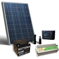 Kit Solare Baita Base 80W 12V, Impianto Fotovoltaico Stand-Alone, Isola