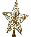 Weihnachtsdekoration, 30 cm, Stern, Glitzer Und Gold, Christbaumspitze, Um auf Dem Echten oder Künstlichen Weihnachtsbaum, Draht Und Gestell Aus Metall