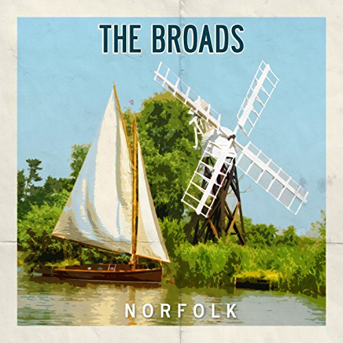 Norfolk Broads Retro-Postergrußkarte -