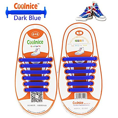Coolnice® kein Krawatte schnürsenkel elastisch für Kinder Paar(12 Stücke)- Umweltverträgliche Wasserdicht Silikon schnürsenkel