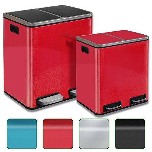 Abfalleimer Felix | Edelstahl Mülleimer mit Pedal | 2 fach Mülltrennsystem für Küche und Büro | 30 oder 60 Liter | Trend Farben zur Auswahl (30 L - Rot)