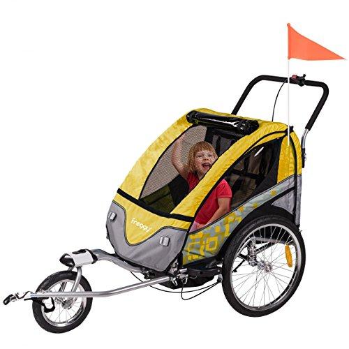 FROGGY Kinder Fahrradanhänger 360° Drehbar mit Federung + Joggerfunktion + 5-Punkt Sicherheitsgurt, 2in1 Anhänger für 1 bis 2 Kinder, Design Tangerine