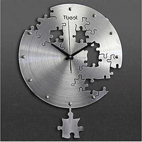 orologio da parete metallo 3D minimalista moda personalità arti creative salone orologio muto orologio da parete al quarzo appeso Guarda Soggiorno orologio da parete camera da letto ( colore : Silver ) - Elegante Movimento Al Quarzo Guarda