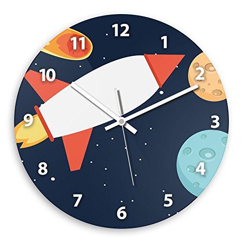 Wanduhr mit schönem Weltall-Motiv mit Rakete für Jungen | Kinderzimmer-Uhr | Kinder-Uhr