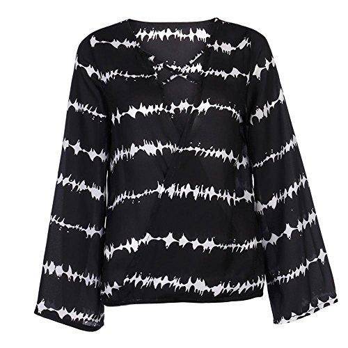 Jimma Tops, Femmes T-shirt en mousseline de soie à manches longues,Chemisiers à rayures en vrac Noir