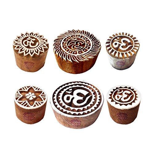Royal Kraft Lehm Holzdruck Dekorativ Runden Om Zeichen Designs Blöcke Stempel (Set von 6) -