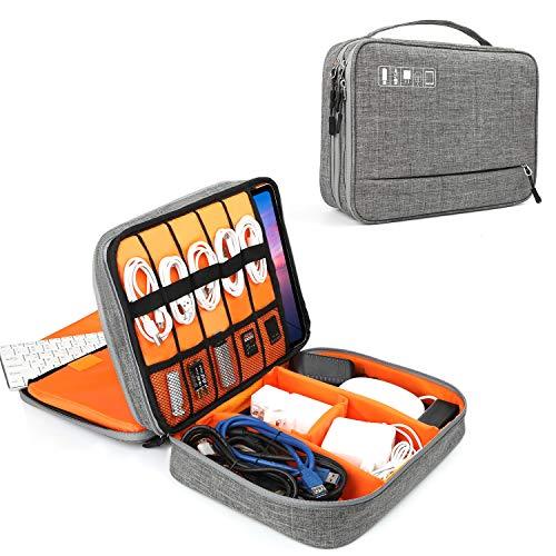 Tonb Shop Reisekabel Organizer (doppelschichtig), universell tragbare Gadget-Tasche, elektronisches Zubehör, Tragetasche für Ladegeräte, Kabel, Powerbank, Huawei Tablet, iPad 9.7, Samsung 10.1 Tablet 12 Zoll Kabel