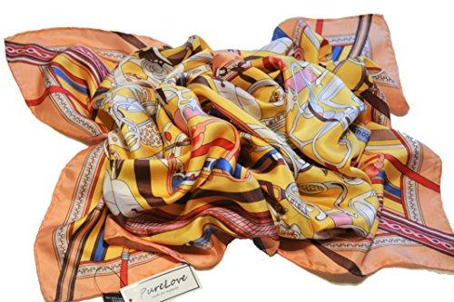 100% Seide Schal, Hand gerollt Kanten, luxuriöse 12 momme Gewicht, lang 170x55cm - Hand Gerollt Seide Schal