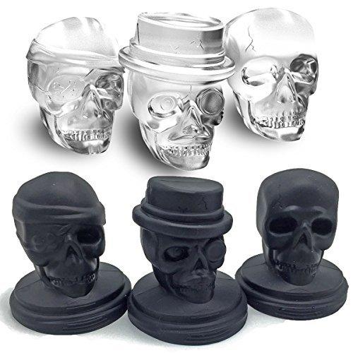 Kidac 3D Eiswürfelform Totenkopf Silikon Groß Eiswürfelform Eiswürfelschale BPA Frei ( Ein Set Aus 3 Verschiedenen Totenkopf Formen schwarz)