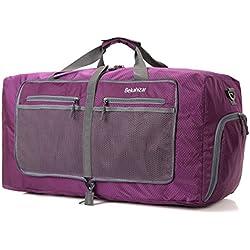 Bekahizar 60L Faltbare Reisetasche Leichter Travel Duffel Bag Wasserdicht Sporttasche Packbare Wochenend Handgepäck Mit Schuhfach & Umhängegurt (Lila)