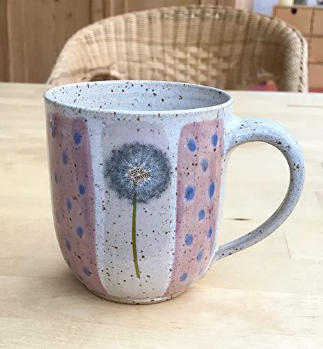 Kaffeebecher-250ml-rot/rosa mit Pusteblumen-getöpfert