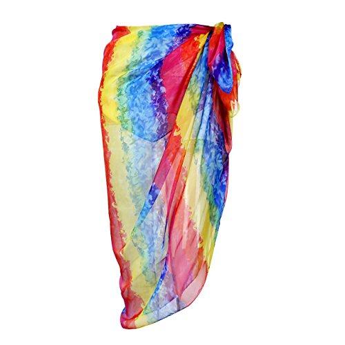 CHIC DIARY Damen Frauen elegant Sarong Pareo Strandtuch Bikini Wickelrock Wickeltuch farbig geblümt gedruckt Strand Schal Halstuch (Bunt Regenbogen(2), 195cmx135cm)