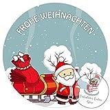 Tortenaufleger Tortenbild Weihnachten Weihnachtsmann Wunschtext 20 cm Ø TA1110