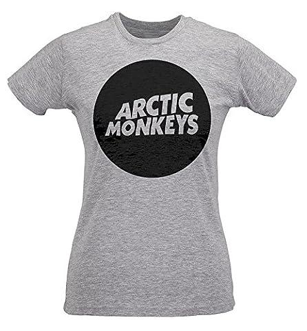 T-shirt Femme Slim Arctic Monkeys Circle Logo - Maglietta 100% coton ring spun LaMAGLIERIA, S, Grigio