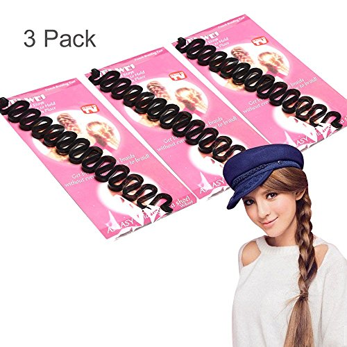 travelmall 3 Mädchen Damen Fashion Hair Styling Clip DIY French flechtwerkzeug Haar Flechter Twist Roller Magic Wonder Halter Clip