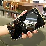 Shinyzone iPhone 6S Plus/iPhone 6 Plus Spiegel Hülle,Schwarz Feder Muster Luxus Galvanisieren Technologie Überzug Stoßstange Rahmen Acryl Spiegel Hülle Zurück Schutzhülle