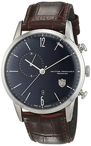 DuFa Unisex Chronograph Quarz Uhr mit Leder Armband DF-9012-05