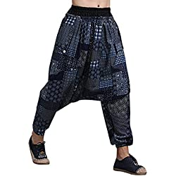 MAFANBUYI Pantalones Harem Bombachos Anchos para Yoga Cómodo Pantalón Cagados Ancho Aladdin Entrepierna Talla Única Casual para Hombre Mujer - Azul