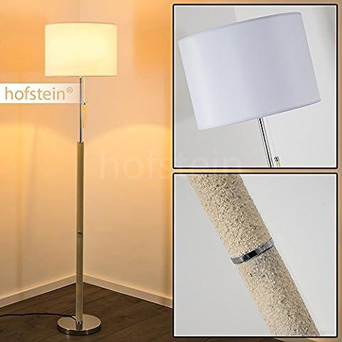 Lampadaire intérieur Denver avec abat-jour blanc et pied d'aspect pierre – Elégant lampadaire à variateur d'intensité compatible LED – Luminaire pour éclairage d'appoint ou lampe de lecture
