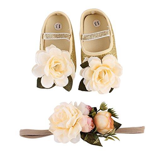 TININNA Bébé Filles douce Semelle Fleurs Bling Baptême Prewalker Chaussures avec Fleur Ensemble Bandeau Cadeau Or #12