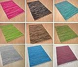 Handwebteppich Fleckerlteppich gestreift 100% Baumwolle Handweb Teppich Fleckerl Waschbar NEU
