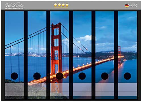 Wallario Ordnerrücken Sticker Golden Gate Bridge in San Francisco USA in Premiumqualität - Größe 36 x 30 cm, passend für 6 breite Ordnerrücken