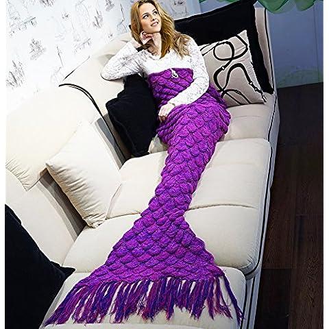 Cola de sirena manta, todas las estaciones edredón suave y cálida cola de sirena Alfombra para sofá tela tejida Crochet borlas Sacos de dormir [Suela] Serie