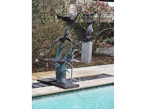 Thermobrass Bronze Brunnen mit Vögeln Wasserspeier Dekorationsfigur Teichdekoration