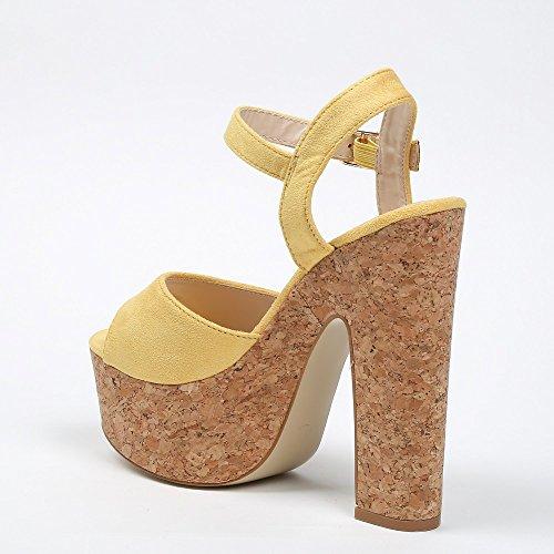 Ideal Shoes–Sandale mit Plattform aus Kork Effekt Wildleder NATEA Gelb - gelb