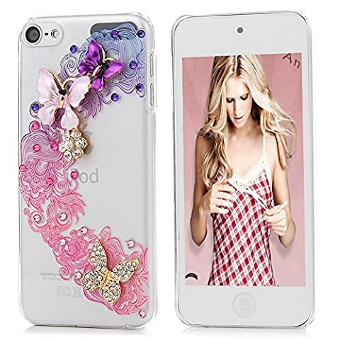 iPod 6 Case , iPod Touch 6 6th Generation Case - Mavis's Diary Fashion Clear 3D Handmade Crystal Clear Cover Bling Diamonds Gems Fancy Butterfly Shell Glitter Sparkly Rhinestone Rigid Hard PC Transparent