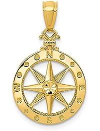 3f0a8dacefff DIAMOND2DEAL INC Colgante de brújula de Oro Amarillo de 14 Quilates