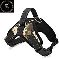 PSK Adjustable Army Printed Nylon Padded Vest Harness with Reflective Stitching and Velcro Patches (XXL)