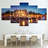 sanzx Canvas HD Stampa Pittura Home Decor 5 Amsterdam City Building Night View Poster Immagine modulare Wall Art30 * 40 * 2 30 * 60 * 2 30 * 80Cm Senza Cornice