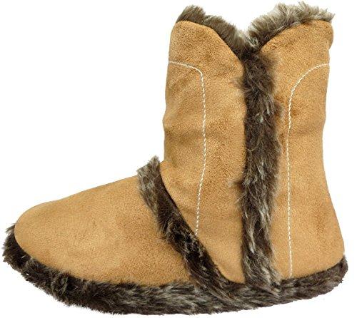 Damen Warm Pelz Gefüttert Knöchel Bootie-Hausschuhe in hellbraun oder braun Hellbraun