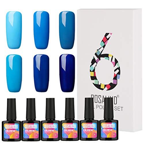 ROSALIND 6pcs/Lot Gel Nagellack Set NagelKunst graue Farben Hybrid-Lacke Blau LED UV-Gel polnische semi-permanente Grundierung für Nägel Maniküre, 6 Flaschen