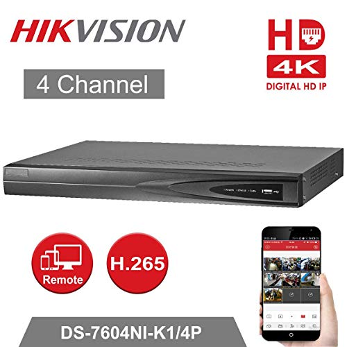 4CH 4K POE NVR Netzwerk Video Recorder, Unterstützung von 1 Kanal HDMI, 1 Kanal VGA, HDMI mit Einer Auflösung von bis zu 4K (3840 x 2160), DS-7604NI-K1/4P, von Hikvision,Festplatte separat erhältlich Mpeg4 Video-recorder