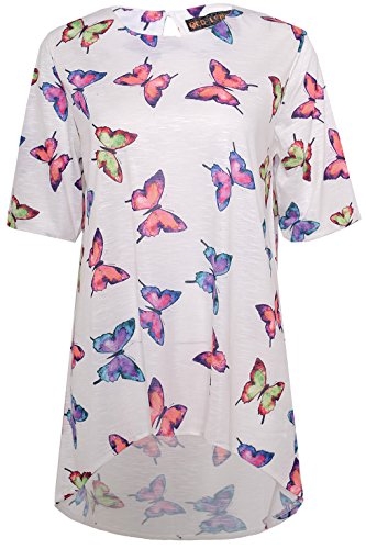 QED Damen Tunika mit Schlüsselloch-Haken auf der Rückseite, Relaxed-Fit, All Over Druck Schmetterlinge, 100% Polyester Weiß - Weiß