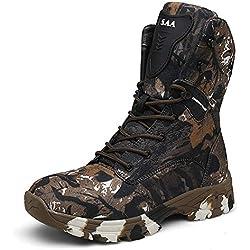 WOJIAO Botas tácticas Impermeables para el Entrenamiento General de cercanías Four Seasons para Hombres Camuflaje Gris Oscuro de Color marrón Gris Zapatillas de Deporte al Aire Libre