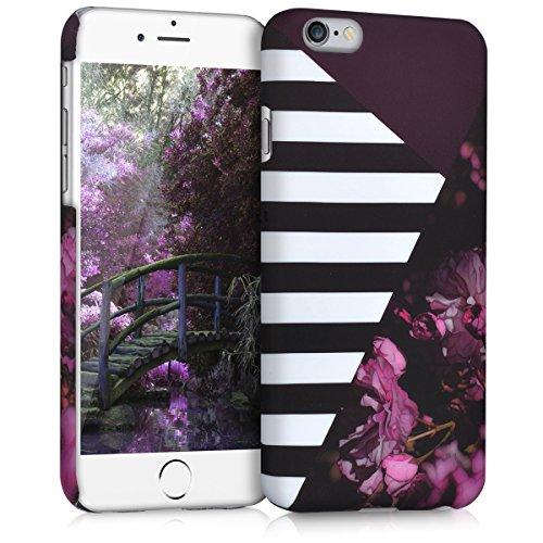 kwmobile Étui rigide Design marbre pour Apple iPhone 6 / 6S en noir blanc Mix floral à rayures rose foncé noir blanc