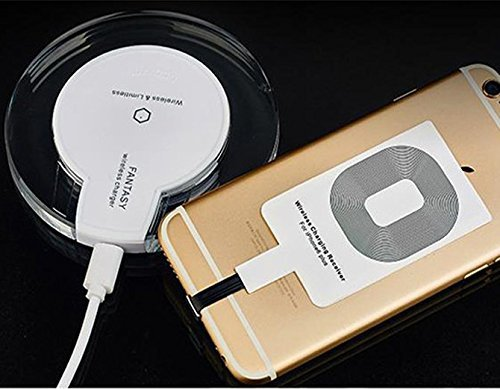 CORST® Drahtlose Qi Ladegerät Induktive Ladestation Qi Wireless Charger Charging Pad Dock Station mit Empfänger für Apple Iphone 5/5s/Iphone 6S/6/6S plus(Weiss)