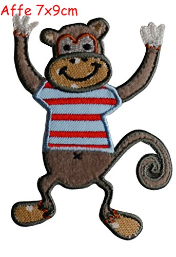 2-iron-on-patches-set-monkey-7x9-crocodile-9x3-embroidery-fabric-appliques-by-trickyboo-design-zuric