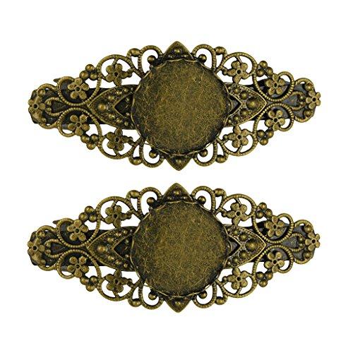MagiDeal 2pcs Barrette Français Fleur Cabochon Réglable Pince à Cheveux Elégant pour Femmes Filles (Bronze Antique)