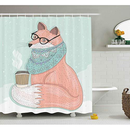 hysxm Tierdekor Duschvorhang Cute Hipster Fox Mit Brille Und Schal Kaffee Hippie Abbildung Stoff Badezimmer Dekor Trinken-180(H)*180(W) cm