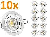 LED Einbau-Leuchten Set 10 Stück RF-2 schwenkbar, Einbau-Strahler Aluminium gebürstet, SMD 3,5W LEDs warm-weiß, GU10 230V [IHRE VORTEILE: einfacher EINBAU, hervorragende LEUCHTKRAFT, LICHTQUALITÄT und VERARBEITUNG] - #982