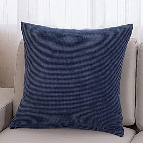 Minuya Corduroy Monochrome Pure Coloured Cotton and Linen Square Pillow Case Cushion Cover Decorative Pillow Cushion Cover Sofa Bed Bedroom Children's Room Denim Blue