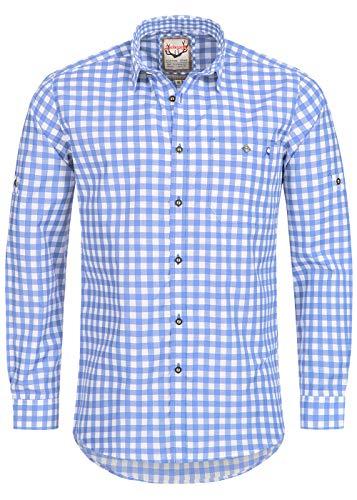 Stockerpoint Trachtenhemd OC-Franzl | kariert | modern Fit (L, Ice) - Blaue Baumwolle Mischung