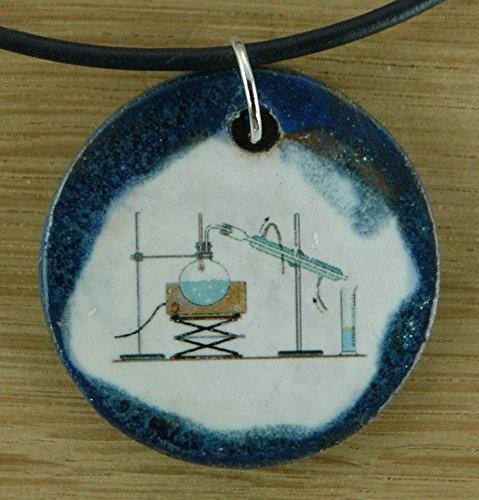 Echtes Kunsthandwerk: Schöner Keramik Anhänger Experiment; Labor, Chemie, Professor, Unterricht, Schule, Lehrer, Uni (Verbindung Halskette Chemische)
