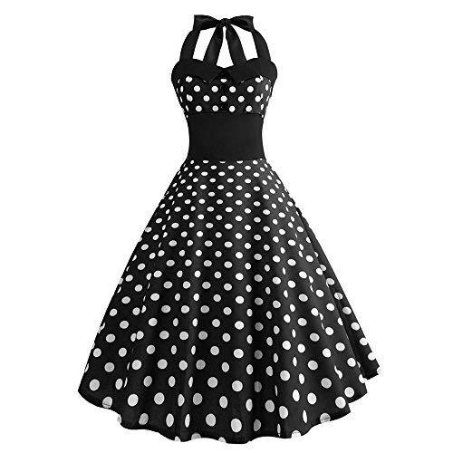 UFACE Neckholder Rockabilly 1950er Polka Dots Punkte Vintage Retro Cocktailkleid Petticoat Faltenrock Neckholder Petticoat